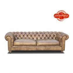 canapea chesterfield piele naturala aurie
