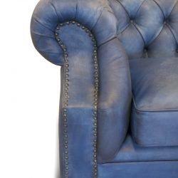 canapea chesterfield piele albastra
