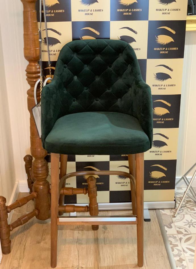 scaun bar catifea verde
