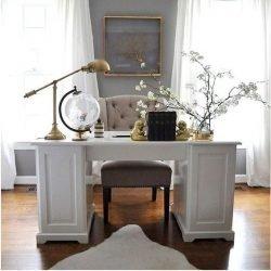 birou alb lemn masiv